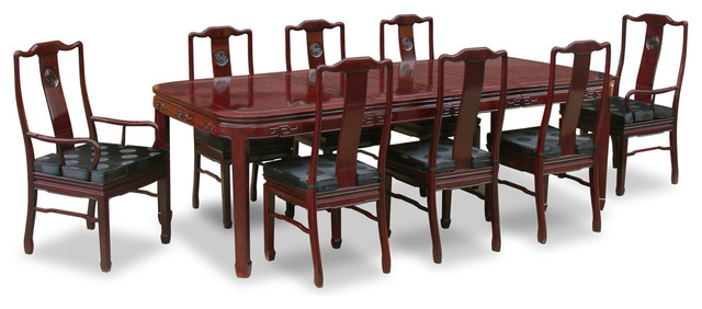 """96"""" Rosewood Longevity Design Dining Table With 8 Chairs"""
