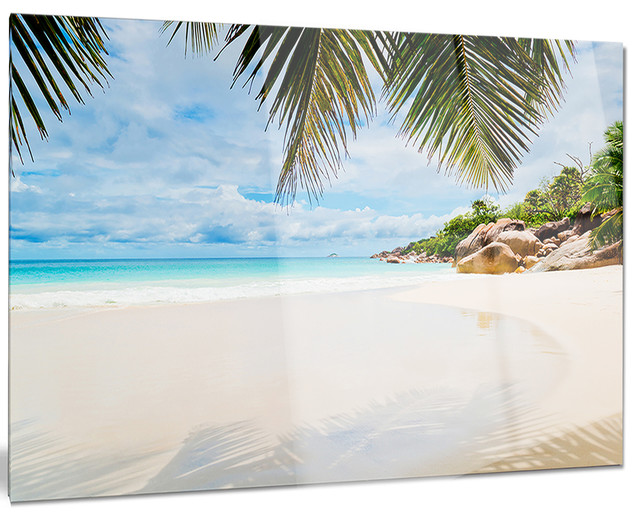"""""""Summer Beach With Palm Leaves"""" Modern Glossy Metal Wall"""