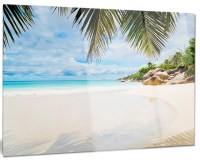 """Summer Beach With Palm Leaves"" Modern Glossy Metal Wall ..."