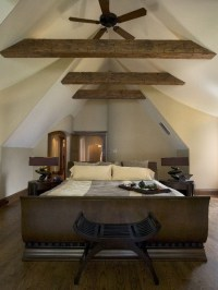 Master Bedroom with Cathedral Ceiling and Rustic Fir ...