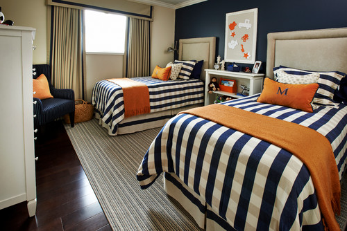 Navy kids room with orange