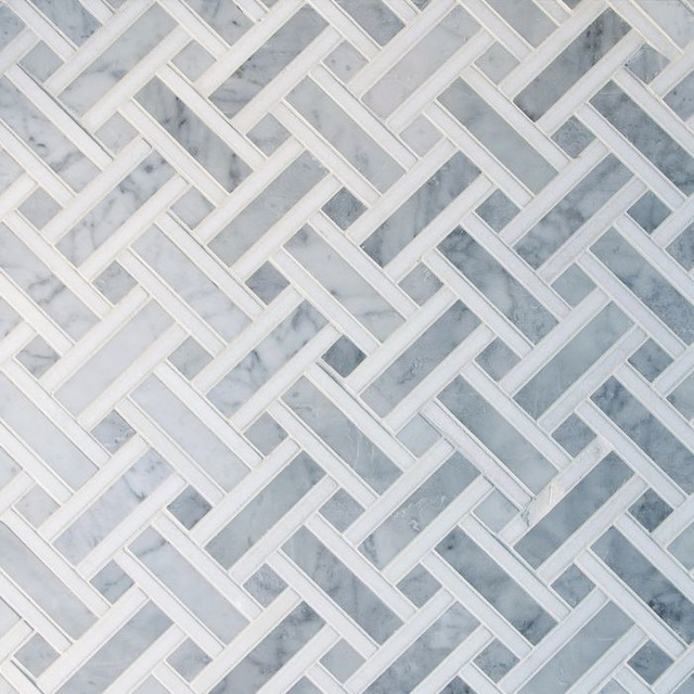 basket weave dining chairs workpro executive chair basket-weave carrara marble mosaic tile, 10 sheets - contemporary tile by gl stone ltd