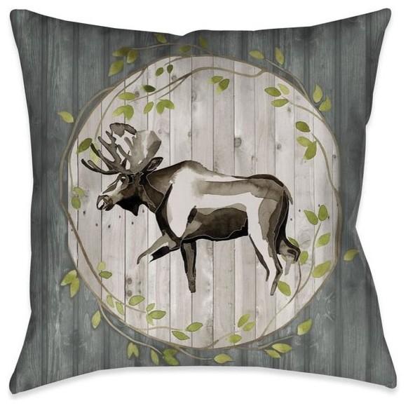 woodland moose outdoor decorative pillow