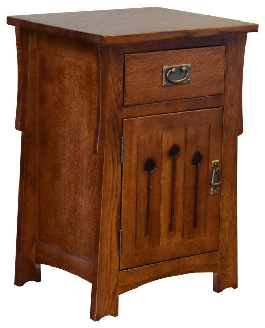 mission style solid quarter sawn oak keyhole nightstand model a26