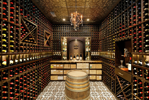 Speakeasy Bar & Wine Cellar with Metal Ceiling