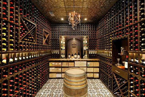 Speakeasy Bar & Wine Cellar with Metal Ceiling