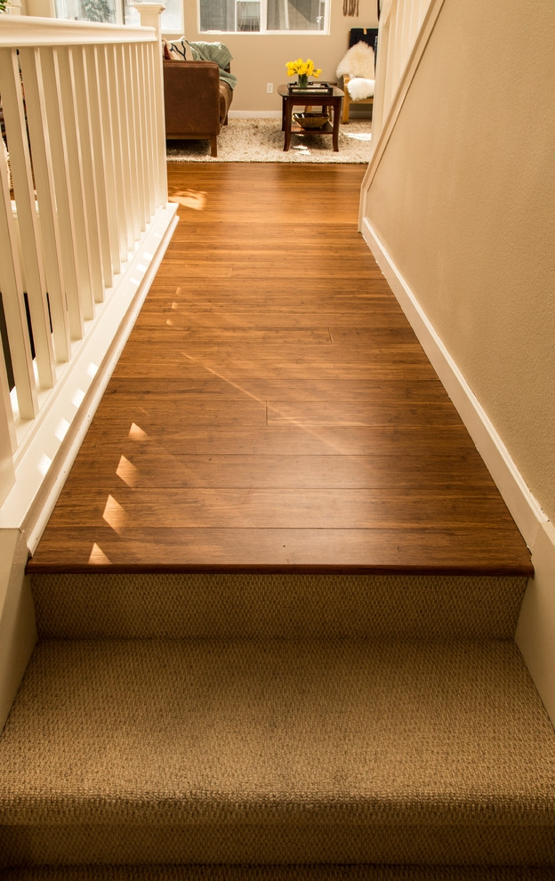 Bamboo Flooring Carpeted Stairs San Jose Ca Hall San | Hardwood Floors With Carpeted Stairs | Wall To Wall Carpet | Painting | Laminate Hall Carpet | Carpet Covered | Carpet Wrapped