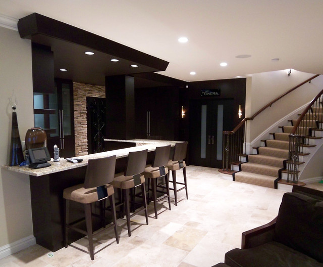 Lower level bar  Contemporary  Living Room  Detroit  by Millennium Cabinetry