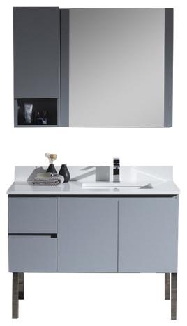 Monaco 42 Right Basin Base Metal Gray Vanity With Chrome Legs  Contemporary  Bathroom