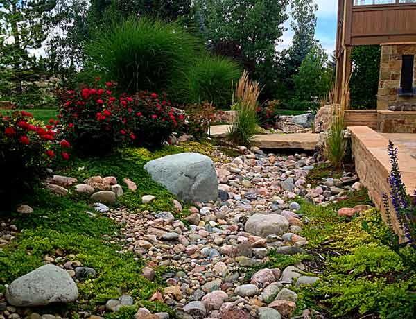 dry creek bed and stone bridge