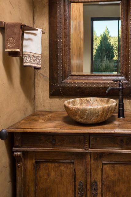 Water tower inspired home wood vanity  Rustic  Powder