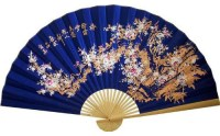 Sakura Blossoms on Electric Blue Chinese Wall Fan - Asian ...