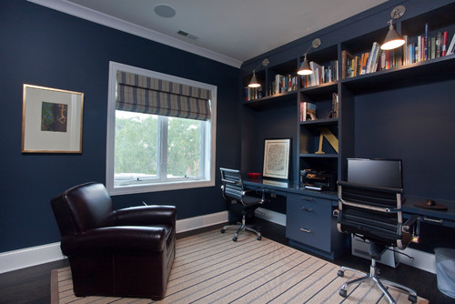 Beautiful navy home office and built-ins
