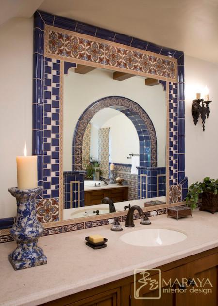 wrought iron pendant lights kitchen high chairs spanish tiled bath - mediterranean bathroom santa ...