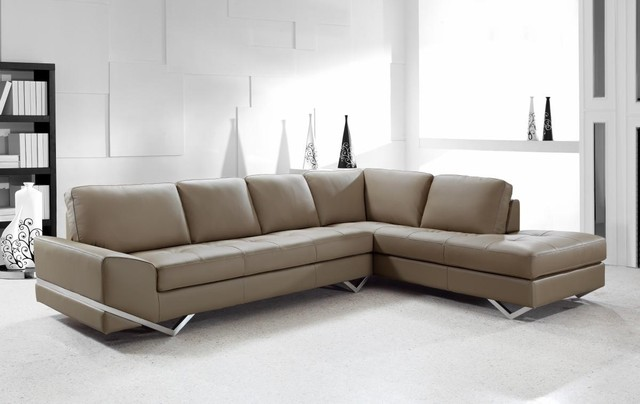 Contemporary Sectional Sofa In Latte Leather Modern Living