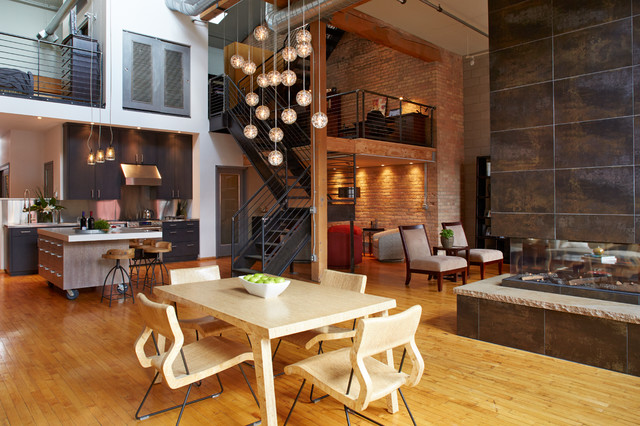 Oversized Industrial Pendant Light Downtown Industrial Loft - Industrial - Dining Room