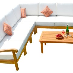 Sunbrella Fabric Sectional Sofas Metal Sofa Table Base 8 Piece Nain Teak Set With Natural Cushions Contemporary Outdoor Lounge Sets By Deals