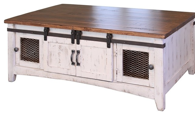 greenview white solid pine coffee table 2 sliding doors