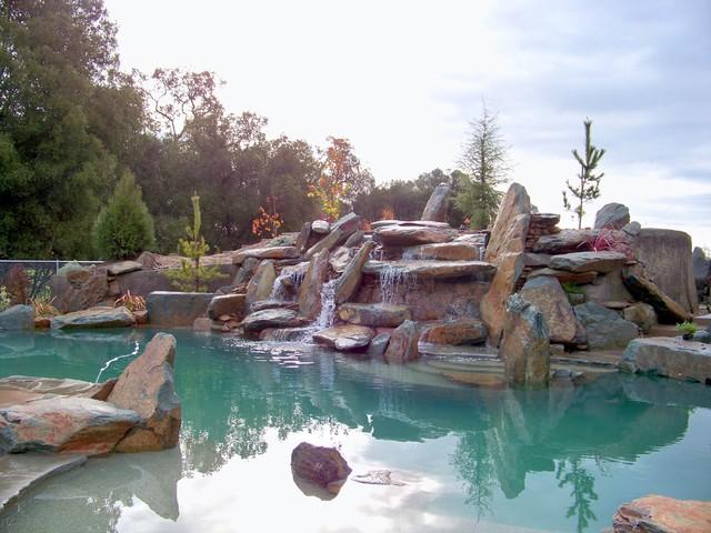 natural rock boulder pool  Rustic  Pool  Sacramento