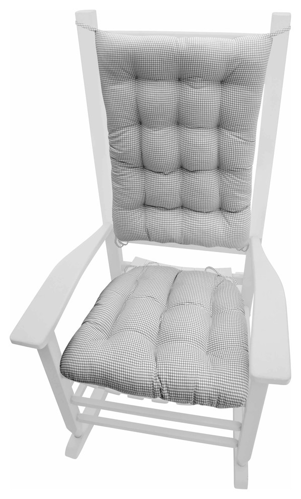 madrid gray gingham rocking chair cushions standard