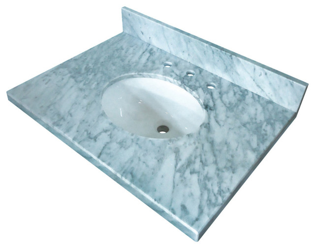 fauceture 36 x 22 carrara marble vanity top with oval sink carrara marble