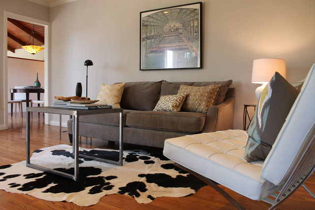 Cowhide Rug Barcelona Chair And Vintage Print Eclectic