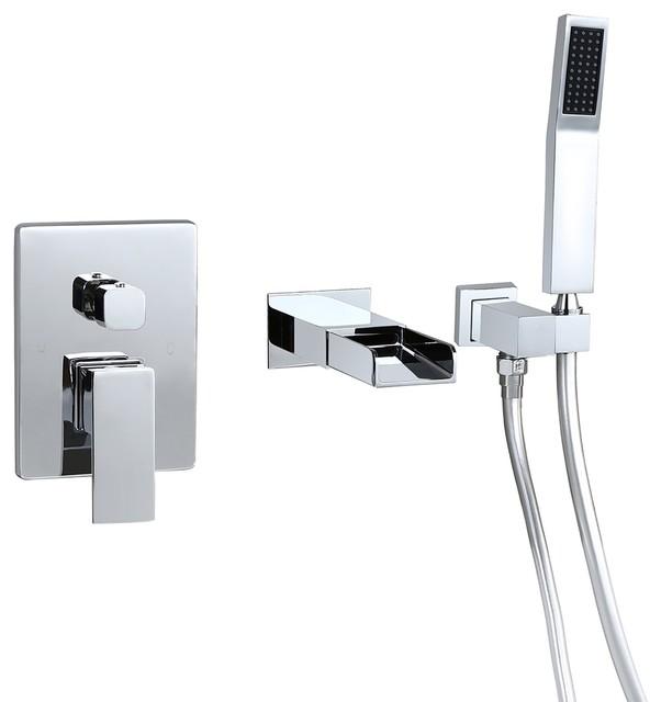 homary waterfall wall mount bathtub filler faucet handshower chrome