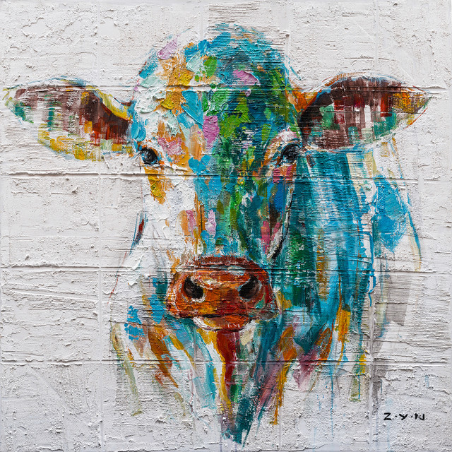 colorful cow hand painted
