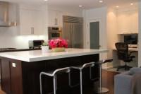 Modern White/Gray/Dark Brown Open Kitchen with Island