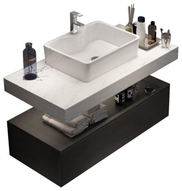 modern floating wall mounted bathroom vanity sink set faux mable top vessel sink