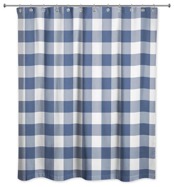 navy buffalo check 71x74 shower curtain