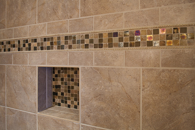 master bathroom shower, closeup on accent tile - traditional