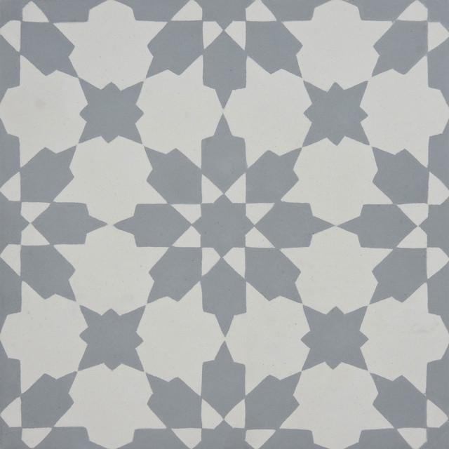 8 x8 ahfir handmade cement tile gray white set of 12