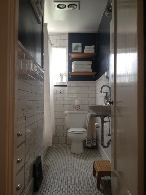 Small Narrow Bathroom Remodel  Traditional  Bathroom