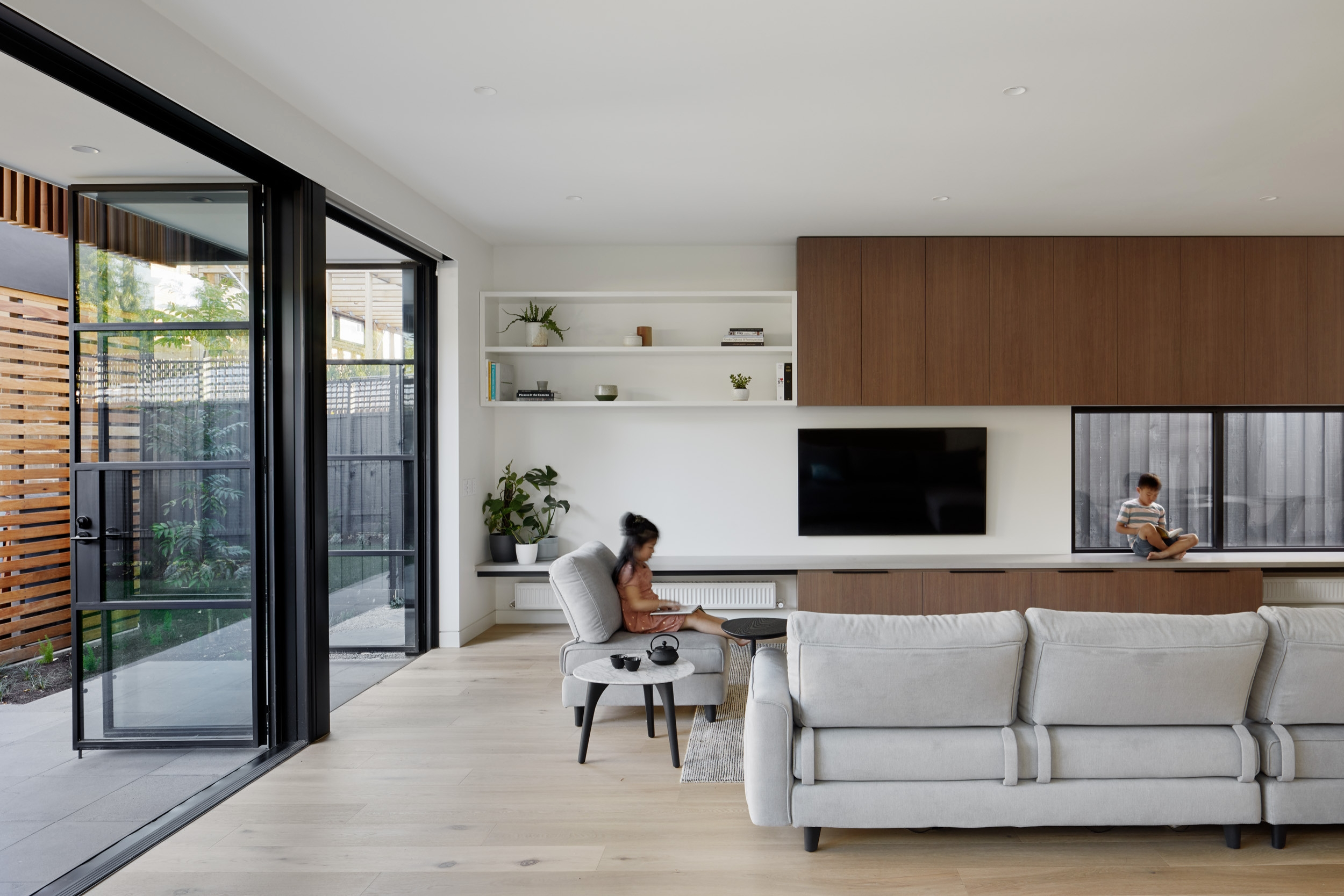 75 Beautiful Modern Living Room Pictures Ideas September 2020   Modern Living Room With Stairs   Stylish   House   Mansion   Dining Room   Sleek Modern