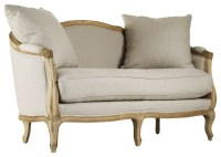Rue du Bac French Country Natural Linen Feather Settee ...