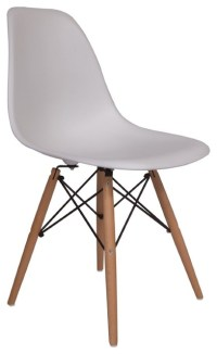 Molded Plastic Side Chair Wood Leg Base White Shell By ...