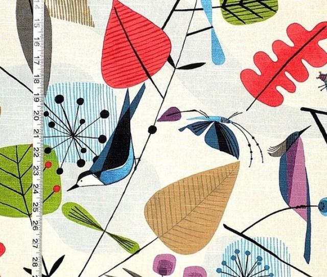 Scandinavian Fabric Retro Modern Graphic Bird Leaves Standard Cut