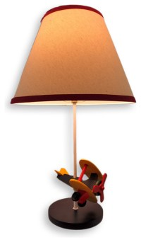 Rotating Biplane Table Lamp With Linen Shade ...