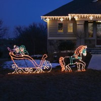Lighted Victorian Horse and Sleigh - Outdoor Christmas ...