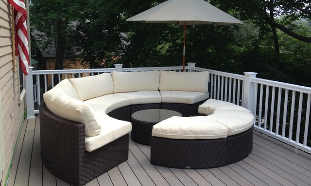 Round Outdoor Wicker Sectional Couch Set Traditional