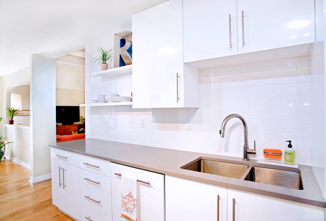Contemporary White High Gloss Foil Kitchen Cabinets Contemporary