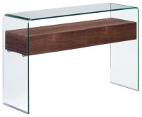 Modern Contemporary Living Room Console Table, Walnut ...