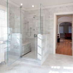 Corner Shower Chair Folding Replacement Feet Luxury With Body Sprays And Frameless Glass - Marble Master Bath, Chatham Traditional ...
