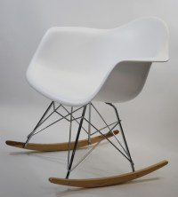 Molded White Plastic Armchair Rocker - Midcentury ...