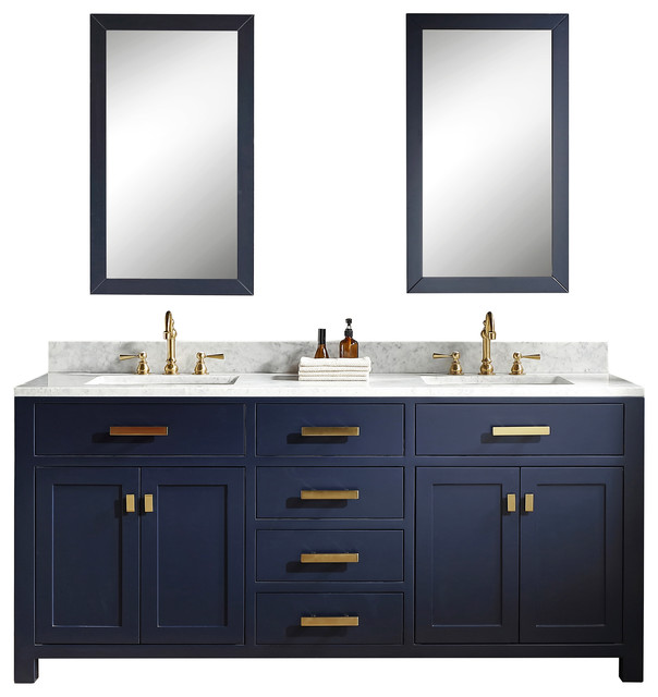 72 Monarch Blue Double Sink Bathroom Vanity Contemporary Bathroom Vanities And Sink Consoles By Water Creation