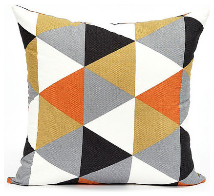 Modern BlackGrayPersimmon Triangle Pattern Throw Pillow