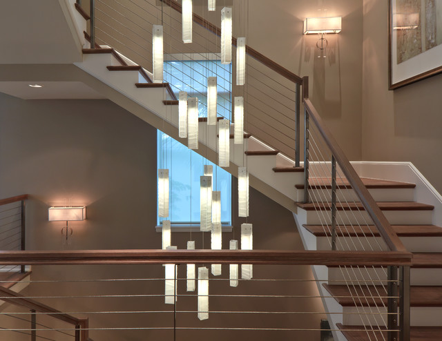 Tanzania Chandelier Contemporary Living Room Stairwell Light Fixture Staircase