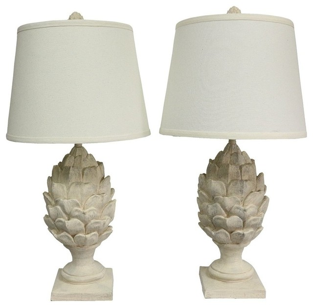 Urbanest Artichoke Table Lamps, Weathered White, Set of 2