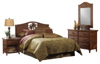 Cancun Palm Tropical Rattan and Wicker 4 Piece Bedroom ...